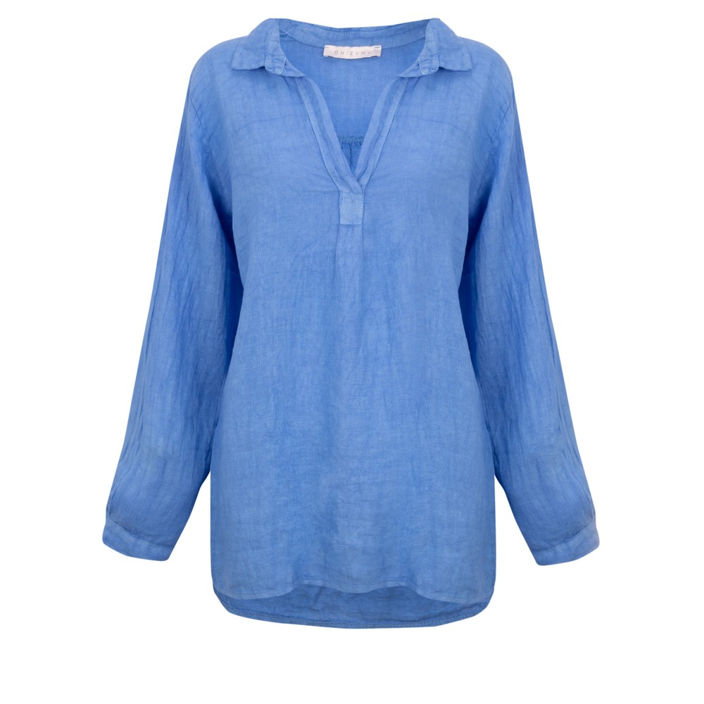 Amazing Woman Bela Long Sleeve Linen Top Blue