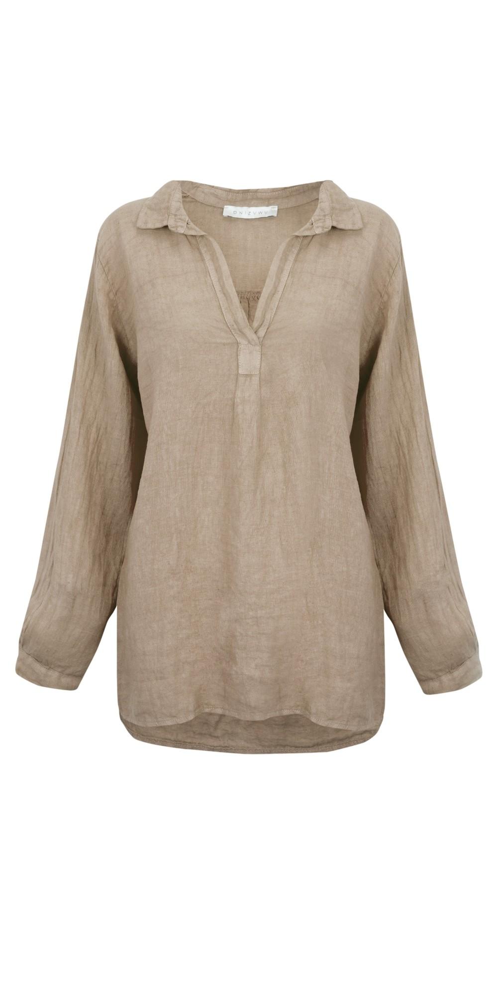 Bela Long Sleeve Linen Top main image