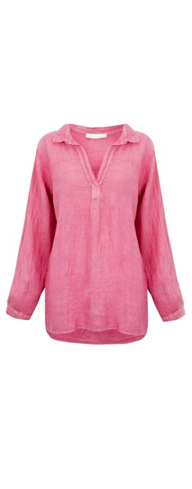 Amazing Woman Bela Long Sleeve Linen Top Pink Confetti