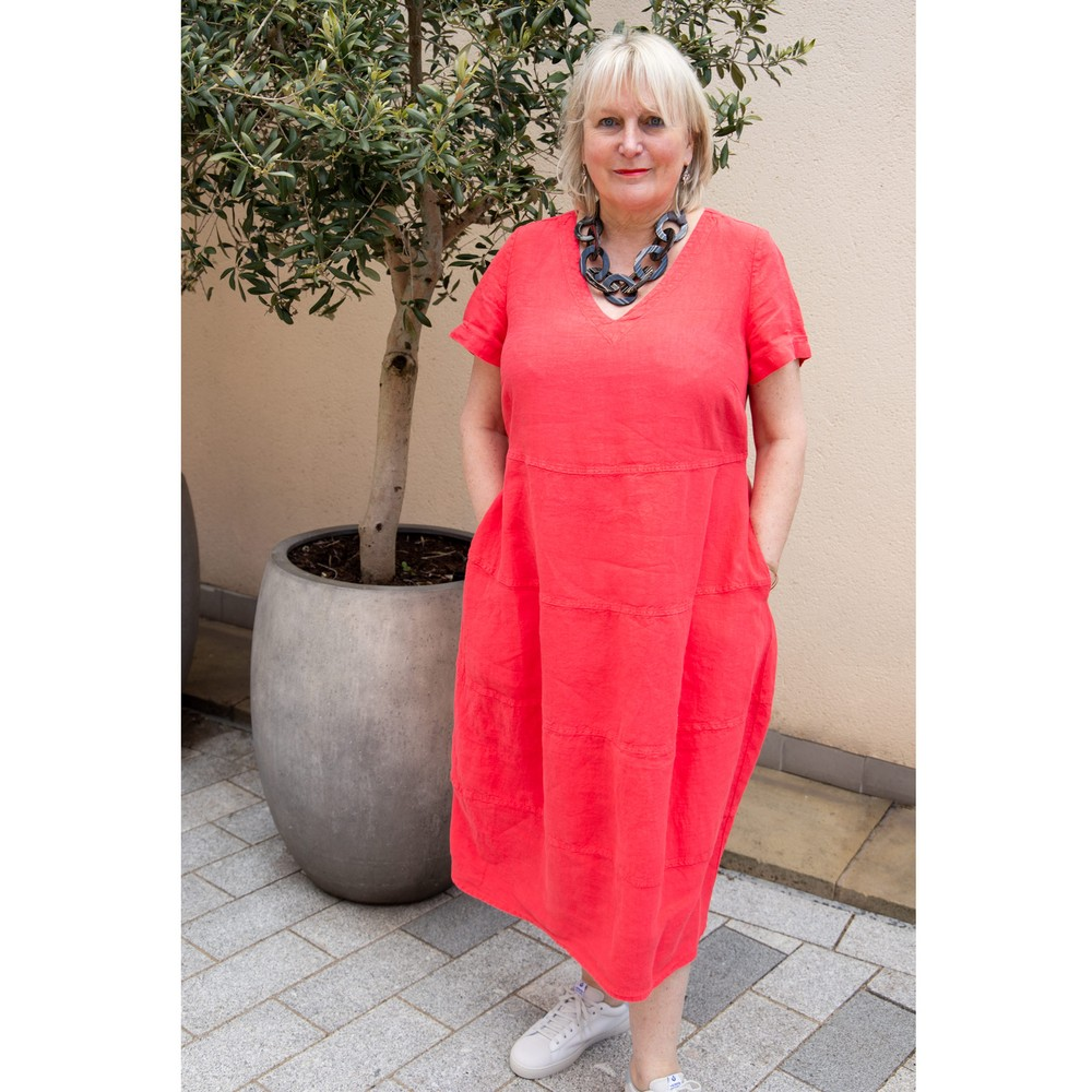Sahara Linen Panelled Dress Hibiscus
