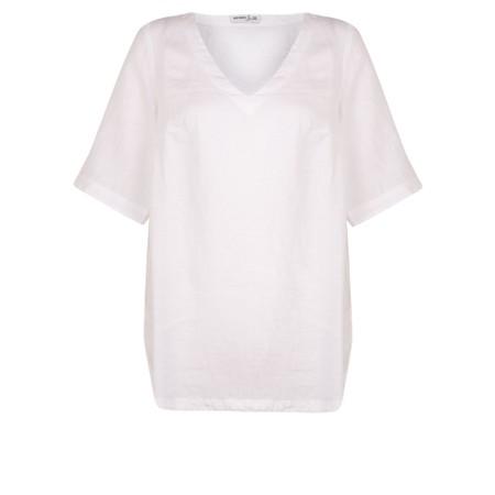 Mes Soeurs et Moi Annette Linen Short Sleeve Top - White