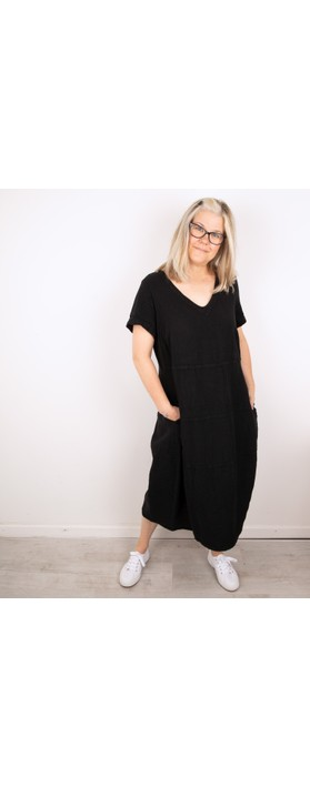 Sahara Linen Panelled Dress Black