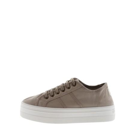 Victoria Shoes Barcelona Organic Cotton Washable Flatform Trainer Shoe  - Beige