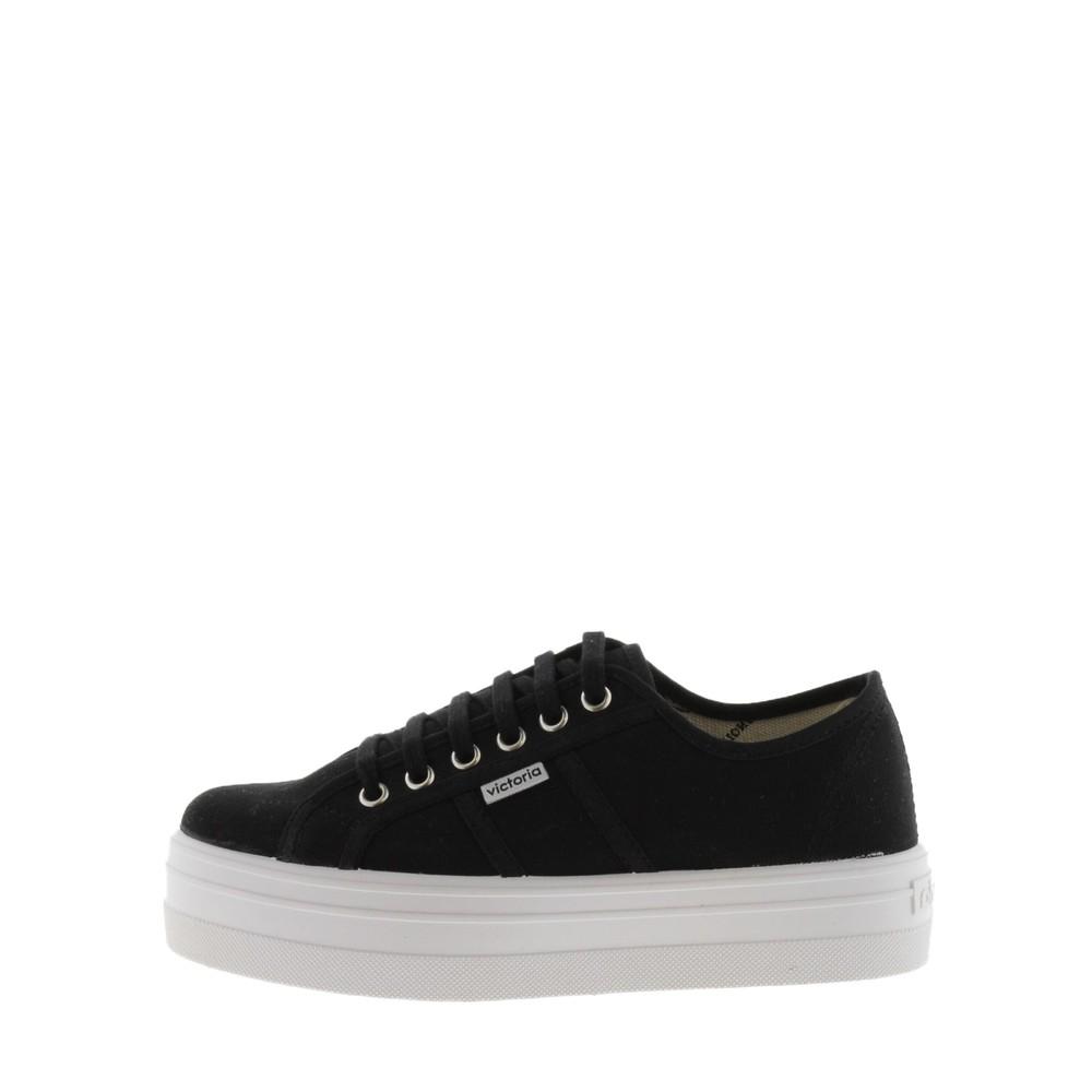Victoria Shoes Barcelona Flatform Cotton Canvas Washable Sneaker Black