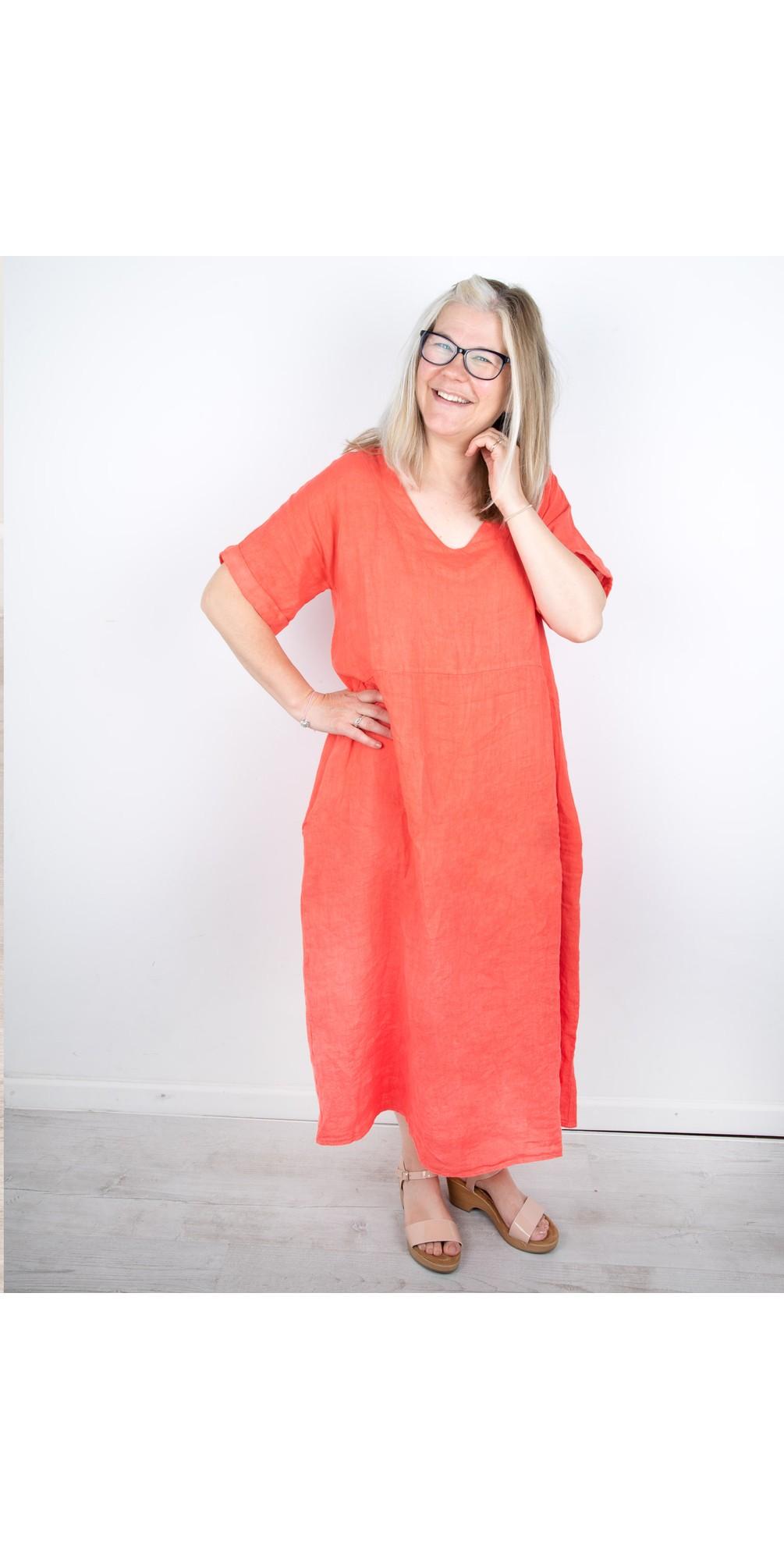 Tesa Midi Coral Linen dress main image