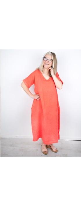 Amazing Woman Tesa Midi Coral Linen dress Coral