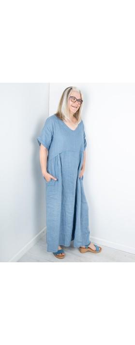 Amazing Woman Tesa Maxi Linen Dress Denim Blue