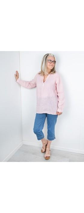 Amazing Woman Bela Long Sleeve Linen Top Rose