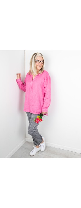 Amazing Woman Bela Long Sleeve Linen Top Pink Confetti
