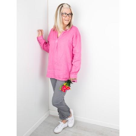 Amazing Woman Bela Long Sleeve Linen Top - Pink