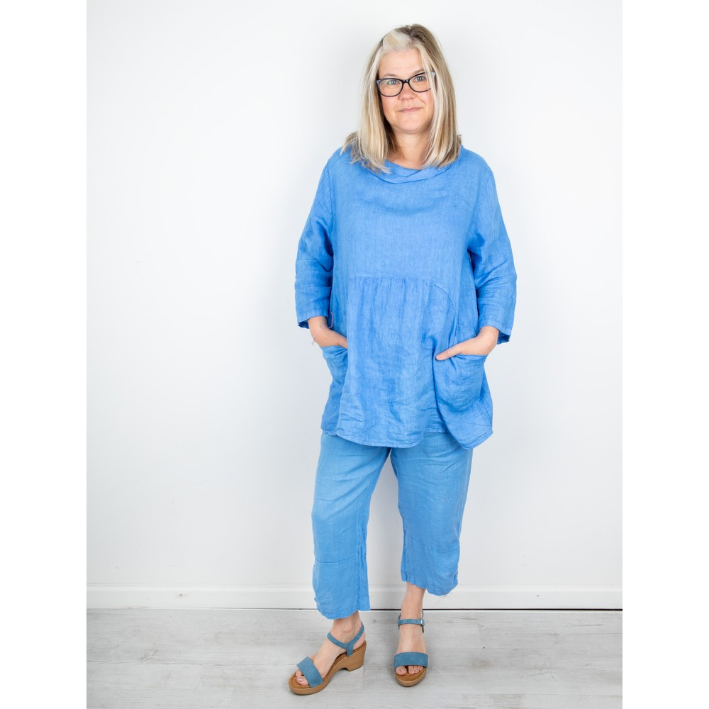Amazing Woman Orla Cropped Linen Trouser Blue