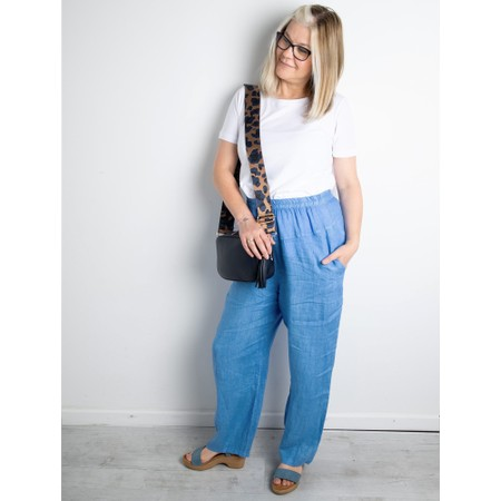 Amazing Woman Ossie Linen Seamed Trouser - Blue