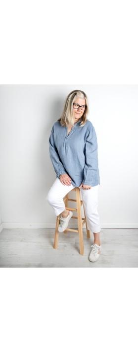 Amazing Woman Bela Long Sleeve Linen Top Denim Blue