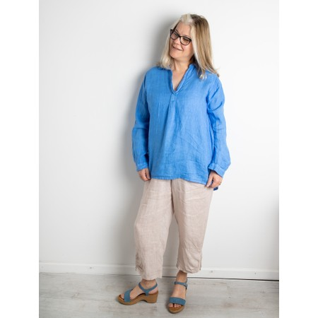 Amazing Woman Bela Long Sleeve Linen Top - Blue