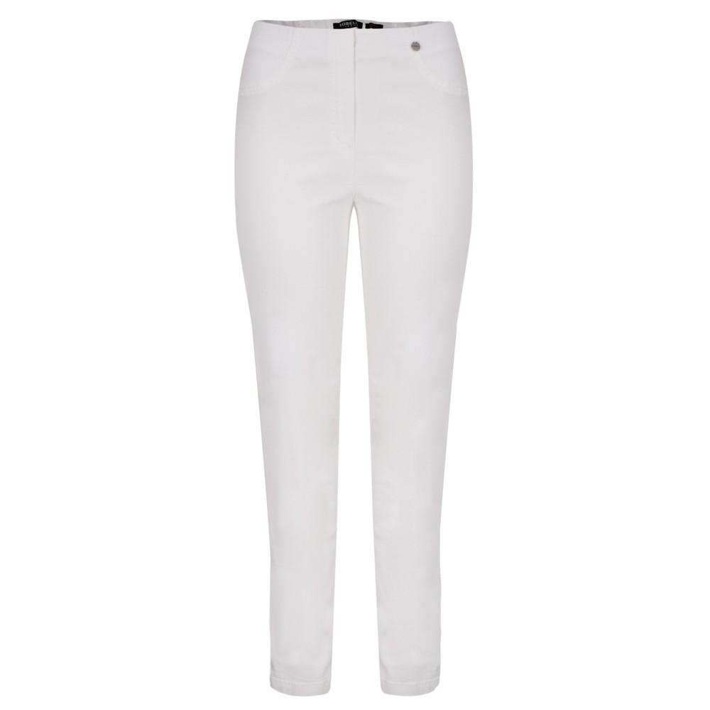 Robell Bella 78cm Slim Fit Full Length Trouser White 10