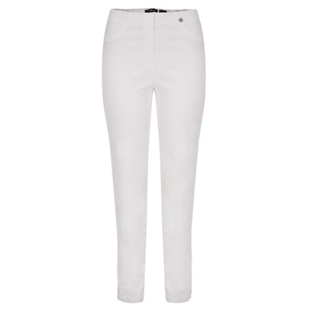 Robell Bella 78cm Slim Fit Full Length Trouser - White