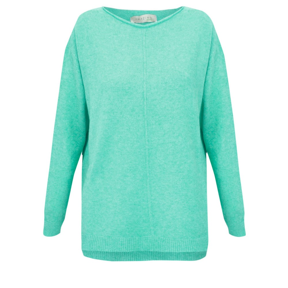 Amazing Woman Maggie Seam Front Supersoft Jumper Summer Turquoise