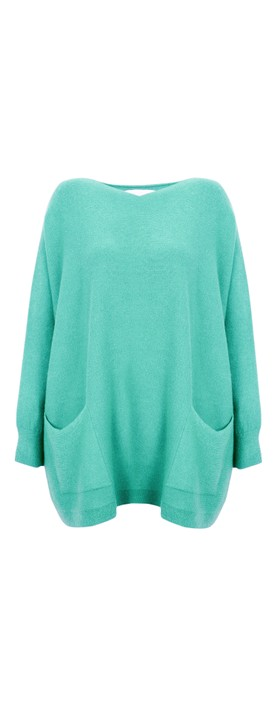 Amazing Woman Curve Caryf X Round Neck Oversized Jumper Summer Turquoise