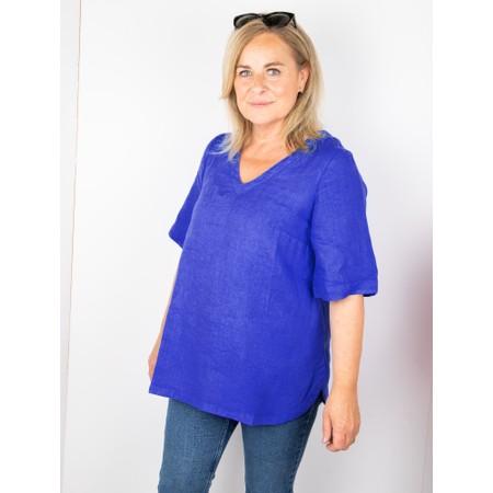 Mes Soeurs et Moi Annette Linen Short Sleeve Top - Blue