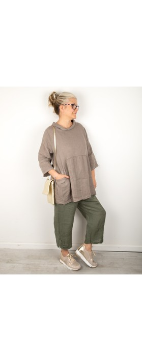 Amazing Woman Orla Cropped Linen Trouser Khaki
