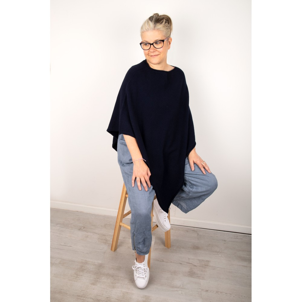 Amazing Woman Poncho in Supersoft Knit  Navy