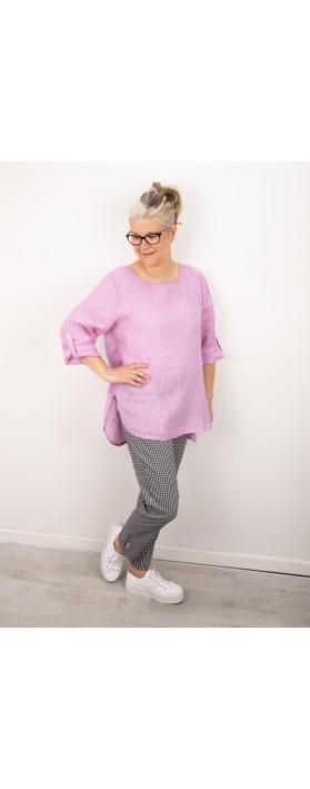 Amazing Woman Elena Linen Button Side Top Lilac