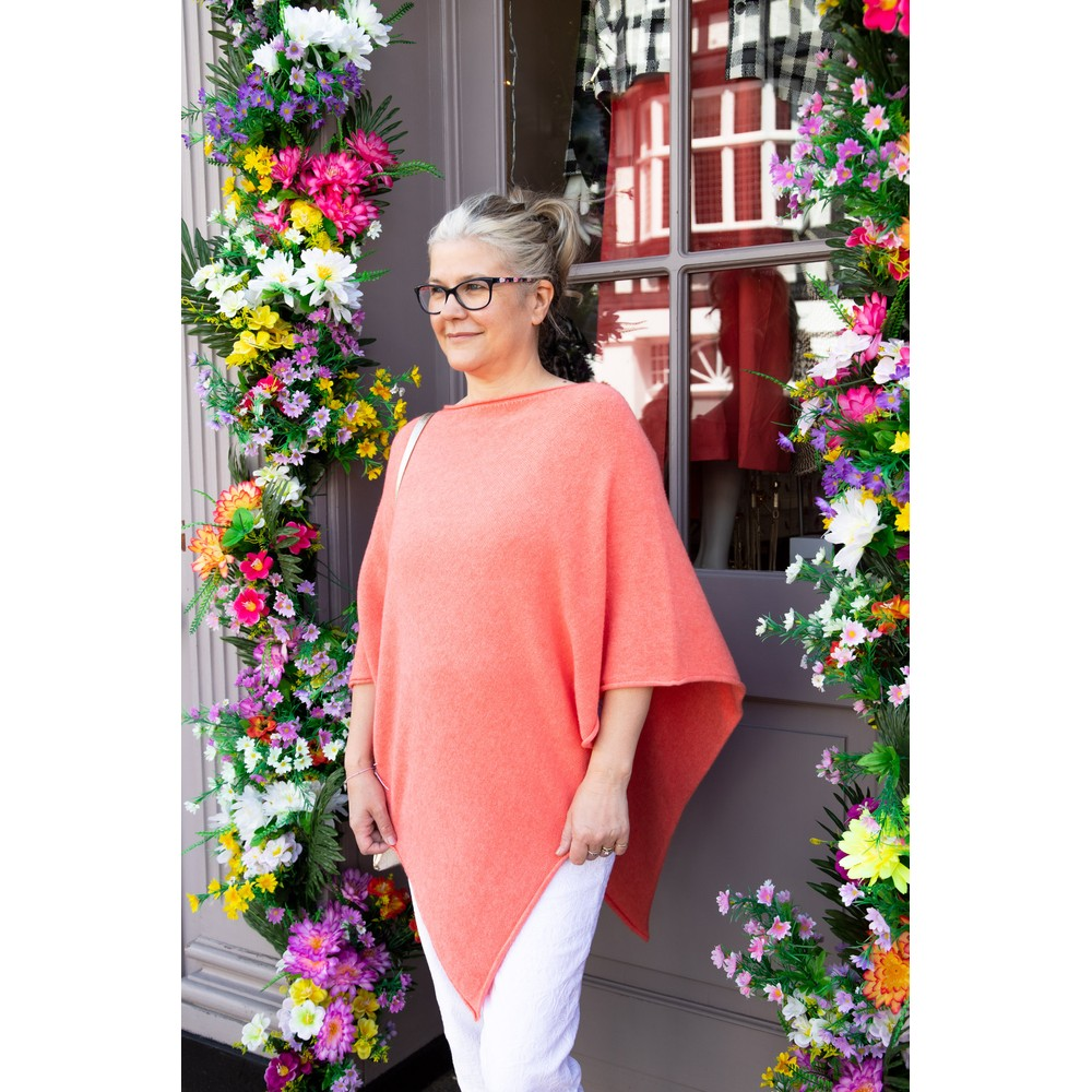 Amazing Woman Poncho in Supersoft Knit  Summer Orange
