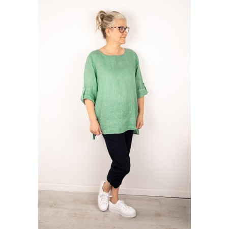 Amazing Woman Elena Linen Button Side Top - Green