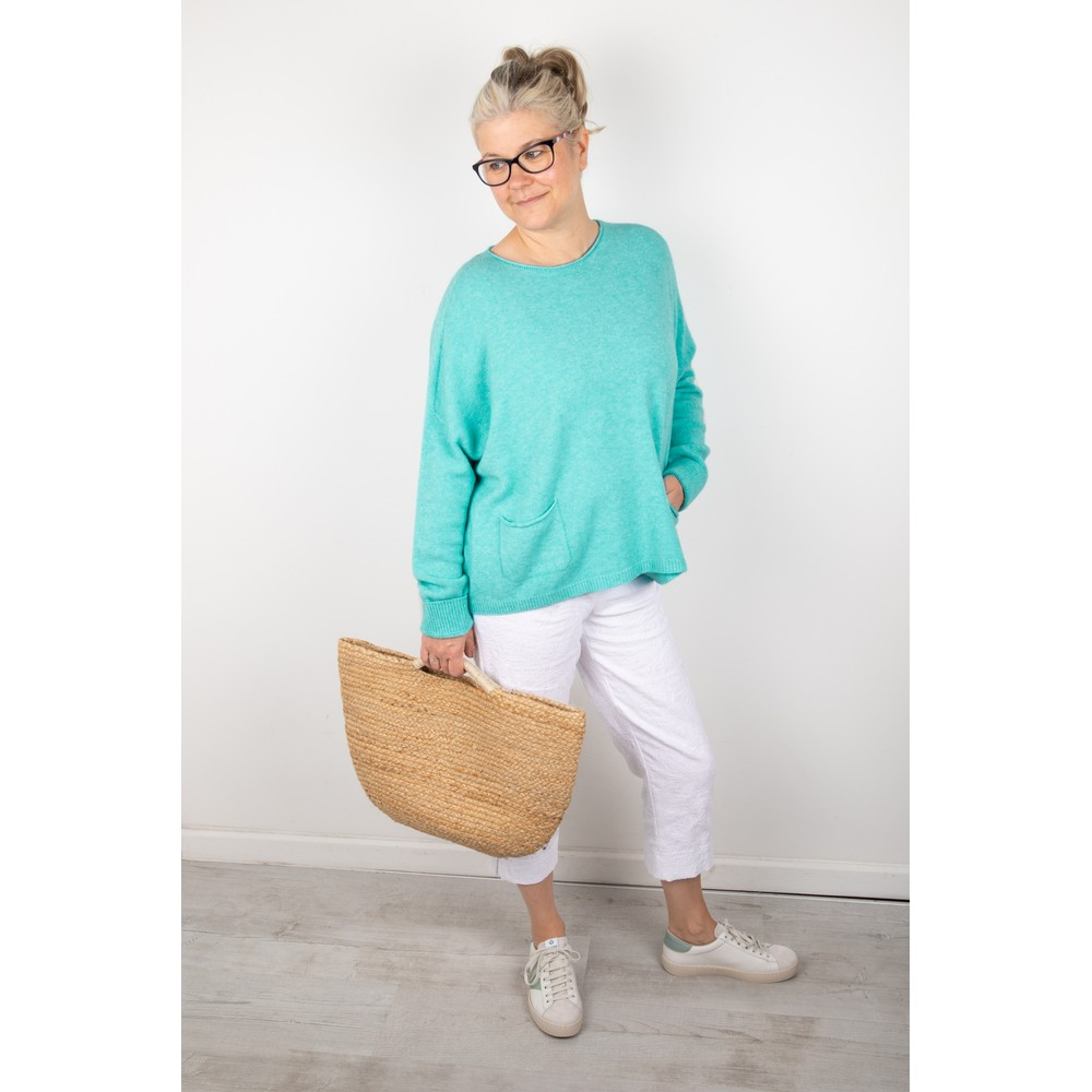 Amazing Woman Jodie Front Pocket Supersoft Knit Jumper Summer Turquoise