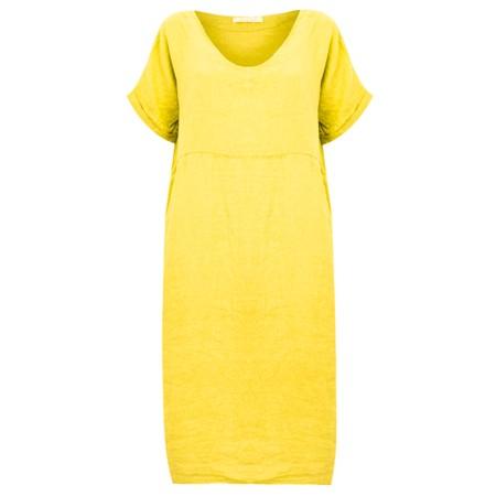 Amazing Woman Tesa Midi Lemon Linen dress - Yellow