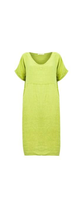 Amazing Woman Tesa Midi Linen dress  Lime