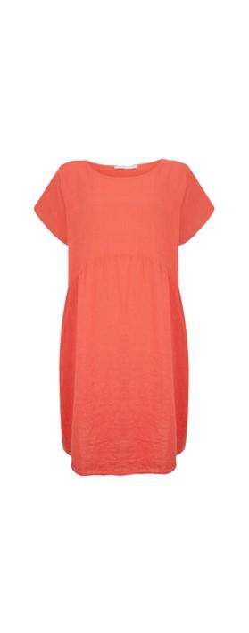 Amazing Woman Curve Lexia Curve Linen Dress Coral