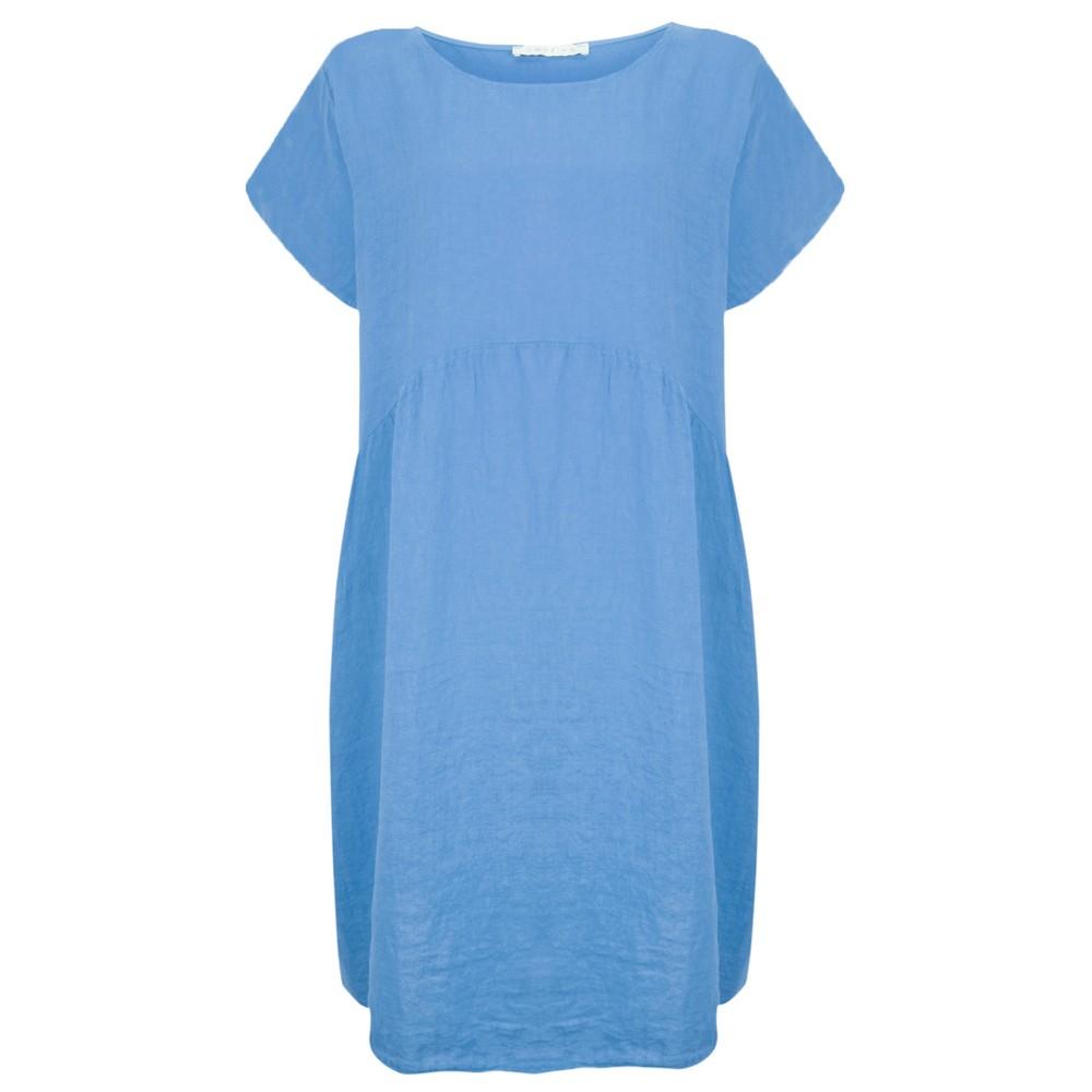 Amazing Woman Curve Lexia Curve Linen Dress Blue