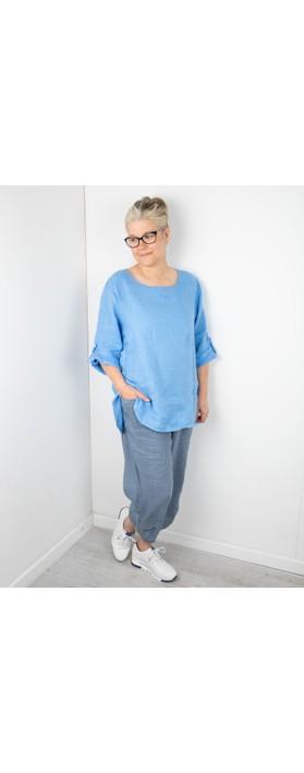 Amazing Woman Elena Linen Button Side Top Blue