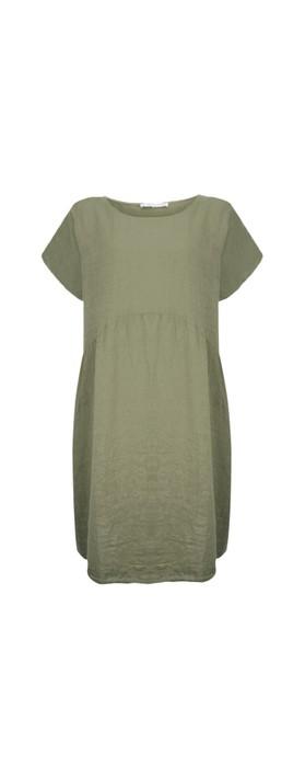Amazing Woman Curve Lexia Curve Linen Dress Khaki