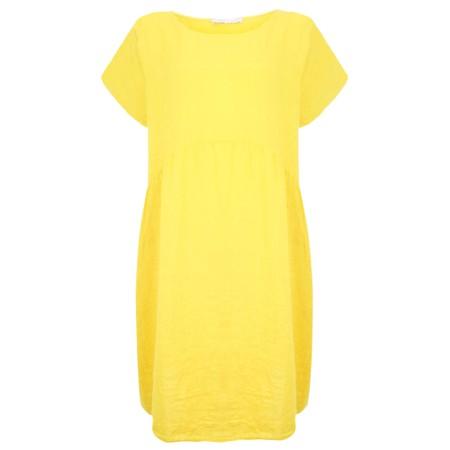 Amazing Woman Curve Lexia Curve Linen Dress - Yellow