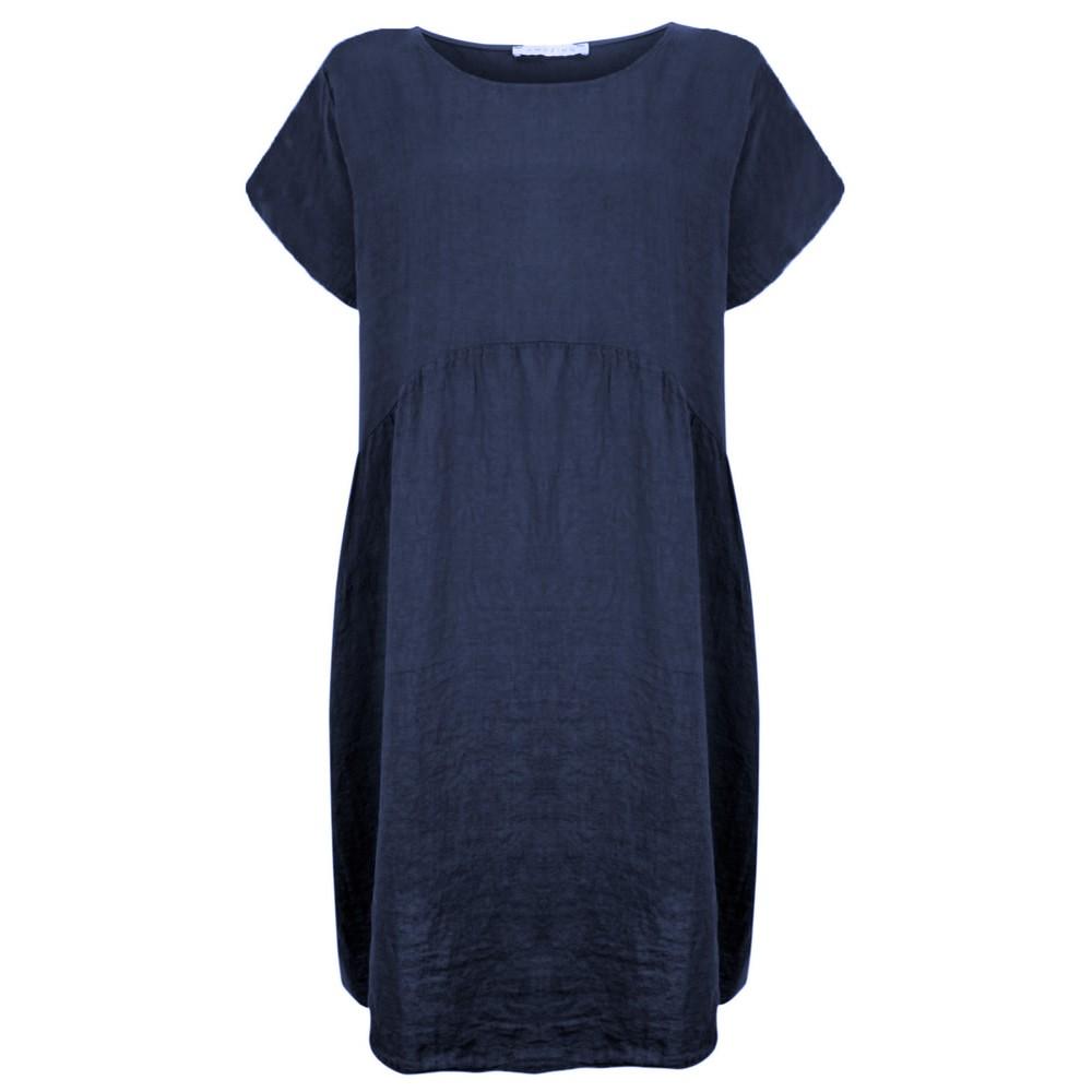 Amazing Woman Curve Lexia Curve Linen Dress Navy