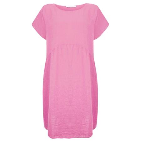 Amazing Woman Curve Lexia Curve Linen Dress - Pink