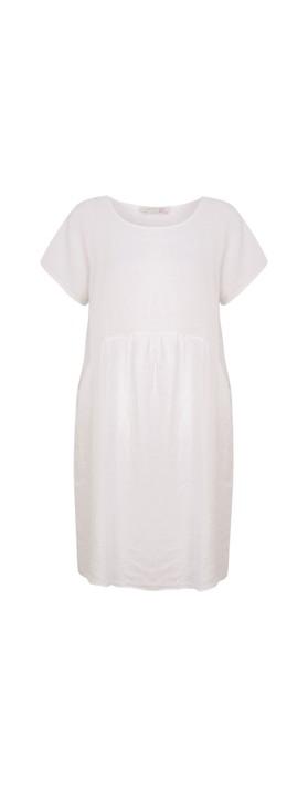 Amazing Woman Curve Lexia Curve Linen Dress White
