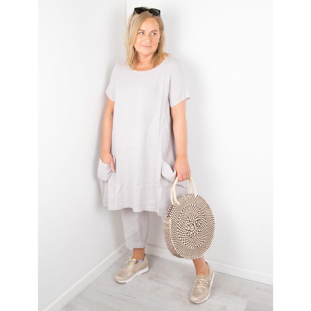 Focus Linen Pocket Dress Silver