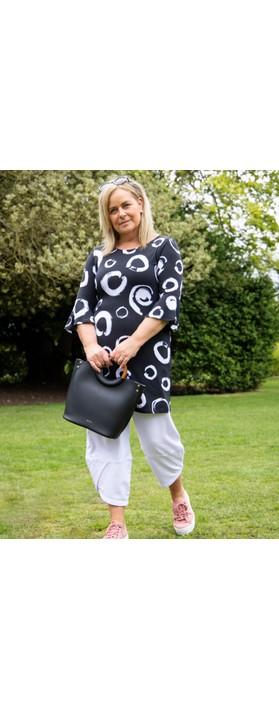 Focus Fluted Sleeve Tunic Dress Polka Dot Black