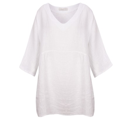Amazing Woman Curve Tesa Curve Linen Top - White