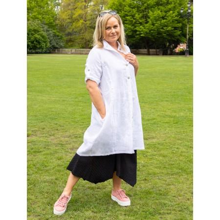 Focus Linen Shirt Dress - White