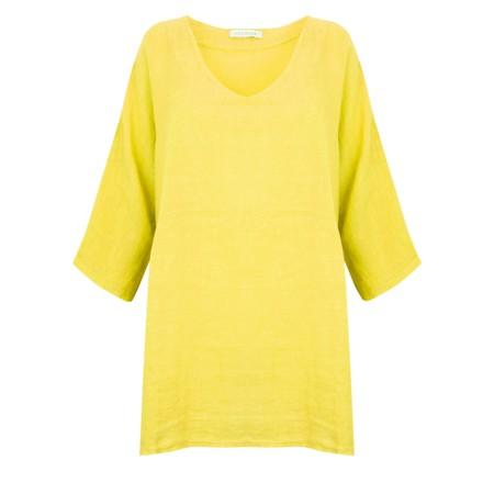 Amazing Woman Curve Tesa Curve Linen Top - Yellow