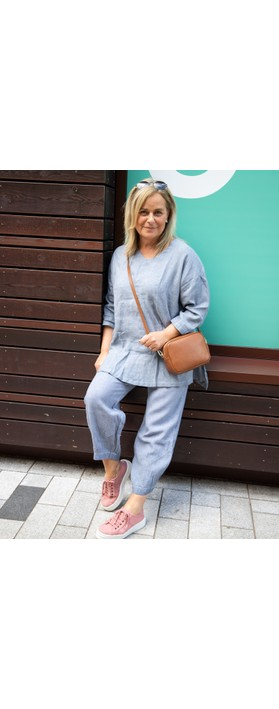 Focus 3/4 Sleeve Linen Tunic Blue