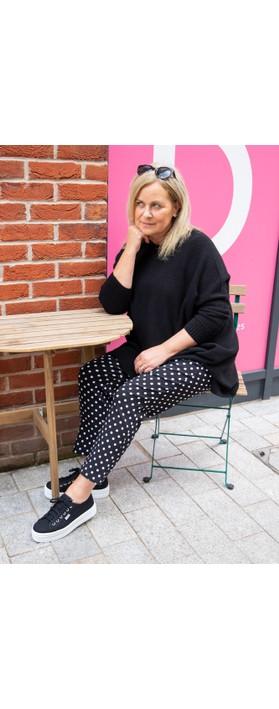 Robell Bella 09 Polka Dot Print Trouser Black