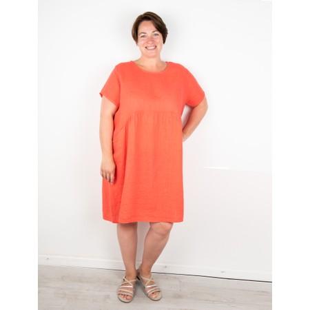 Amazing Woman Curve Lexia Curve Linen Dress - Orange
