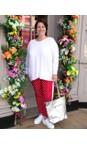 Amazing Woman White  Caryf X Round Neck Oversized Jumper