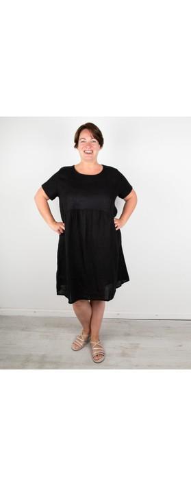 Amazing Woman Curve Lexia Curve Linen Dress Black