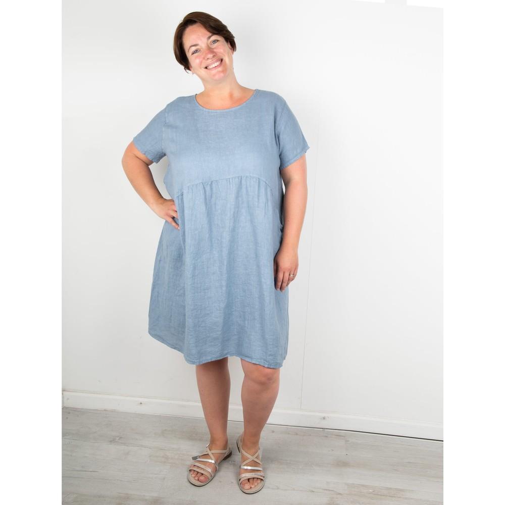 Amazing Woman Curve Lexia Curve Linen Dress Denim